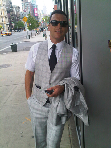 Sean Avery - Grey Plaid 3 Piece Suit - 2011
