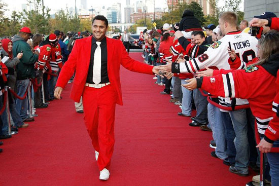 Dustin Bufuglien - Rockin The Red Suit on The Red Carpet - 2010