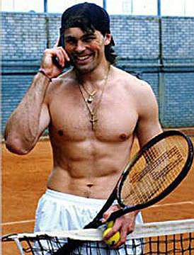 Jaromir Jagr Shirtless - Talkin on the Cellphone - Tennis Court