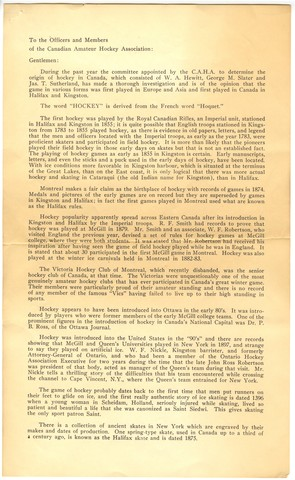 Origin of Hockey in Canada - Page 2 - Report - 1942