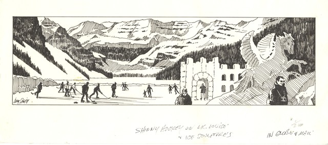 Bern Smith - Shinny Hockey on Lake Louise - Hand Drawn