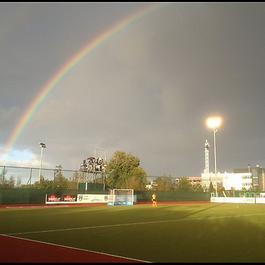 Rainbow over the Field Hockey Pitch in Dublin, Ireland - 2012