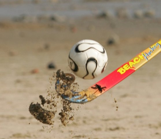 Beach Hockey Ball Being Hit By a Beach Hockey Stick - 2011