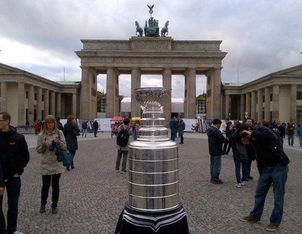 The Stanley Cup visits Brandenburg Gate in Berlin, Germany