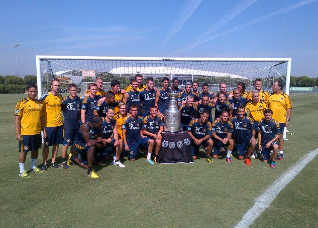 The LA Galaxy Soccer Team Pose With The Stanley Cup - 2012