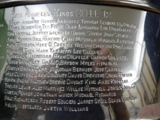Los Angeles Kings - 2012 Stanley Cup Championship Engraving