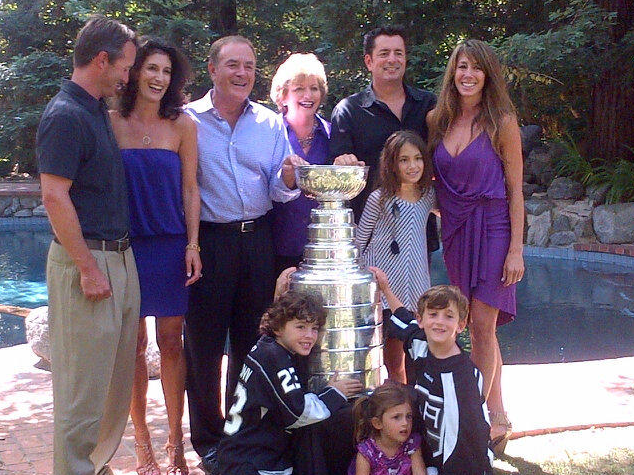 Al Michaels and Family with The Stanley Cup at Poolside in L A