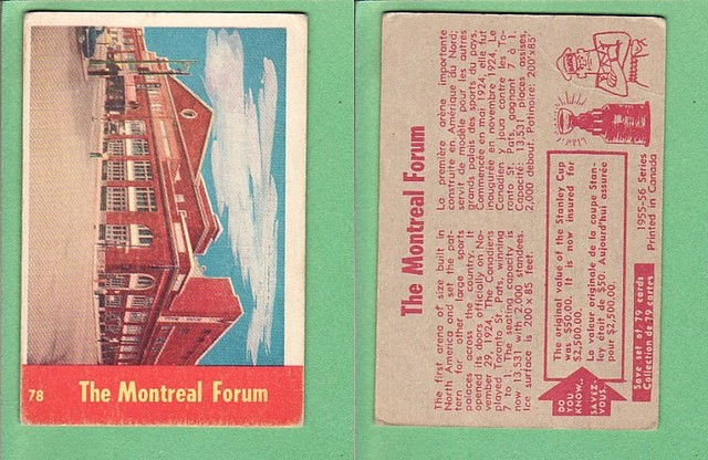 Ice Hockey Card 1955  The Montreal Forum