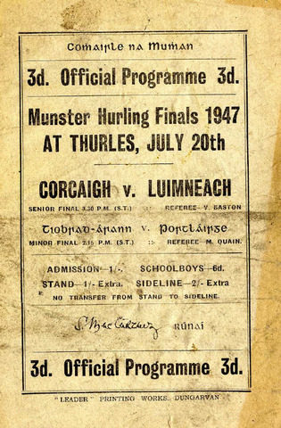 Hurling Program - Cork V. Limerick - 1947 - Thurles