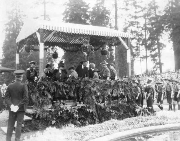 Lady Byng and Lord Byng Meeting Boy Scouts in Stanley Park 1922