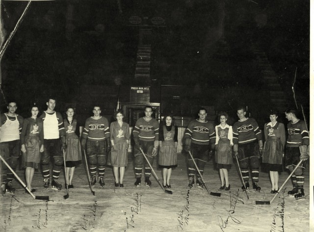 Montreal Canadiens & Miss Canada Contestants - The Forum - 1946