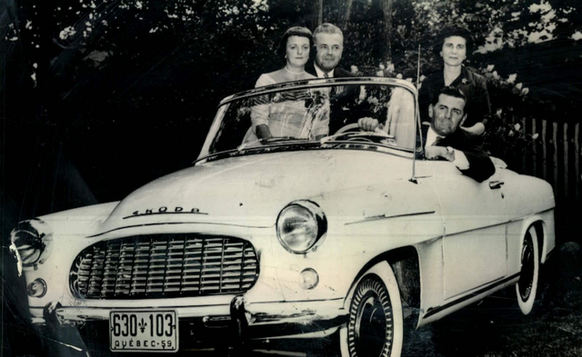 Maurice Richard with his wife Lucille, Mr & Mrs Toser in a Skoda
