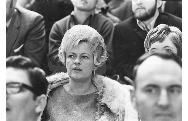 Elise Beliveau watching her husband Jean Beliveau play - 1971