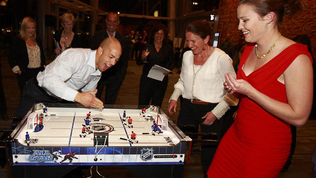 Manny Malhotra disputes the call on the Table Hockey Game - 2011