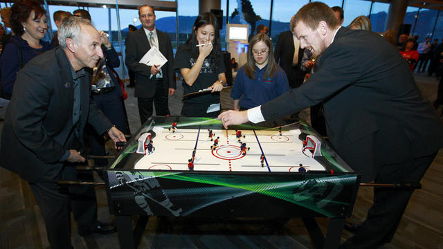 Sedin drops the puck to let the Table Hockey game begin - 2010