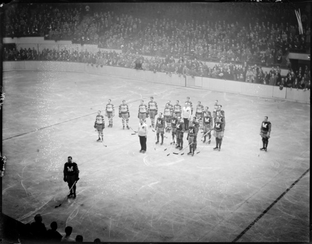 Boston Bruins & Montreal Maroons Standing For National Anthem