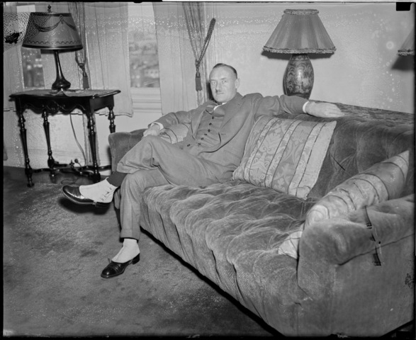 Conn Smythe in his Living Room - 1937 - Wearing Shoe Covers