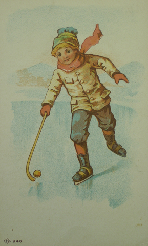Hockey Trade Card - Atlas Soap - Lithograph - circa 1890