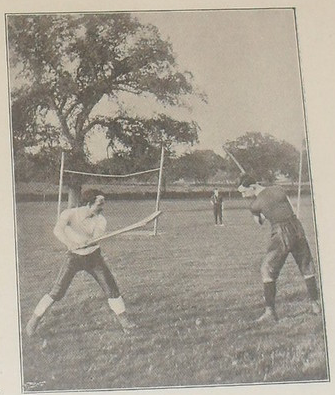 Hurling Players about to strike a Sliotar with a Hurley - 1898