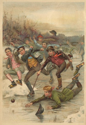 Game of Pond Hockey / Shinny - Antique Color Lithograph - 1892