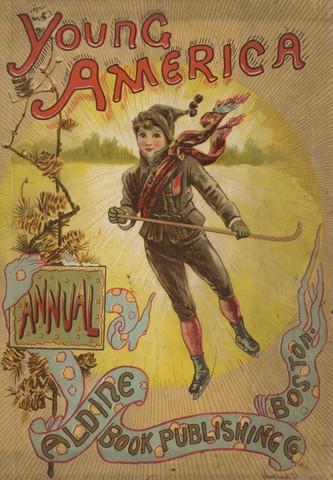 Young America Annual Cover - 1890 - Boy Skating - Ice Polo Stick