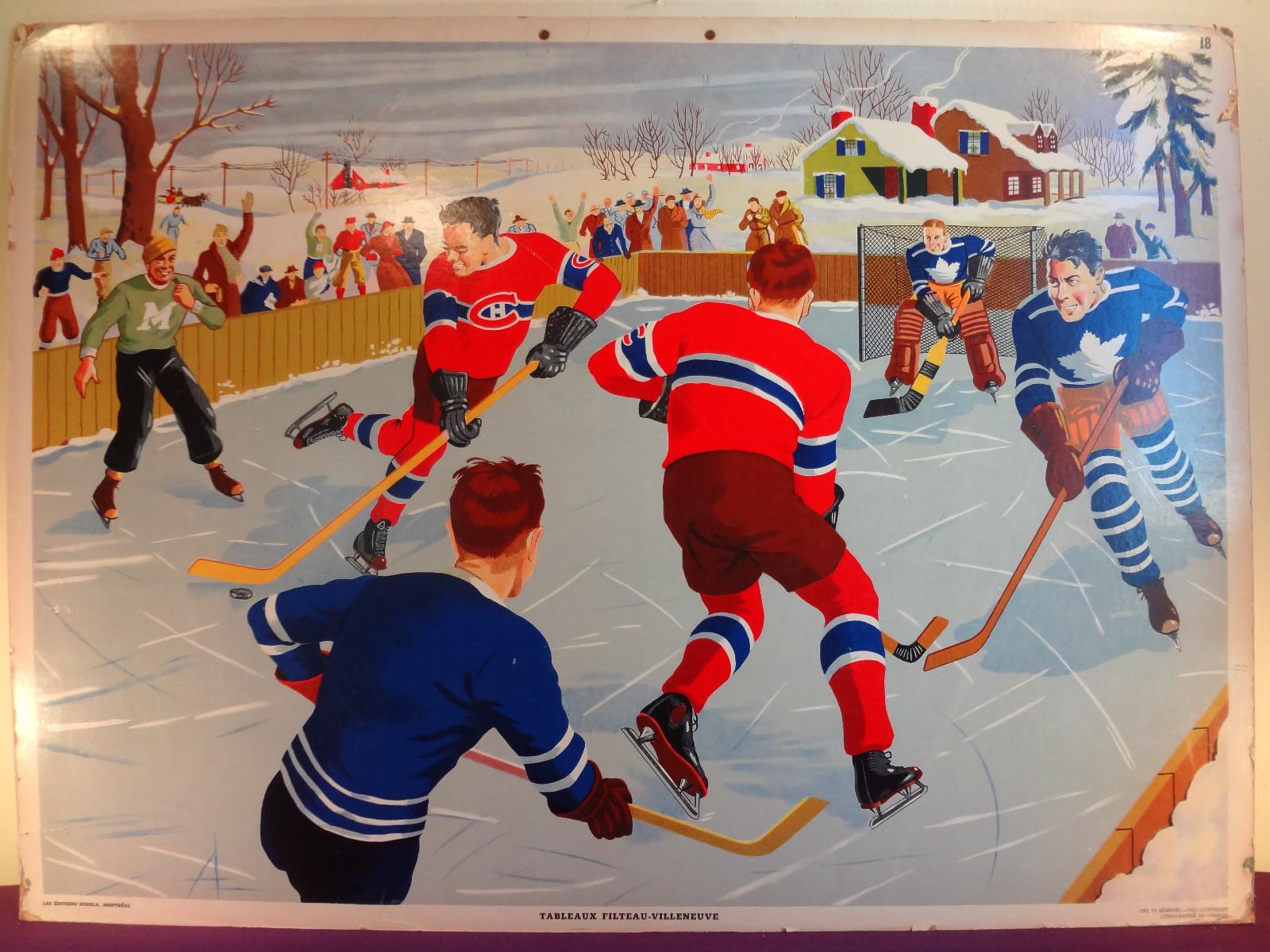 Vintage table hockey - Ice Hockey School Poster John Mary S 1940s 1950s
