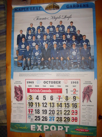 Vintage Toronto Maple Leafs Calendar - October - 1965
