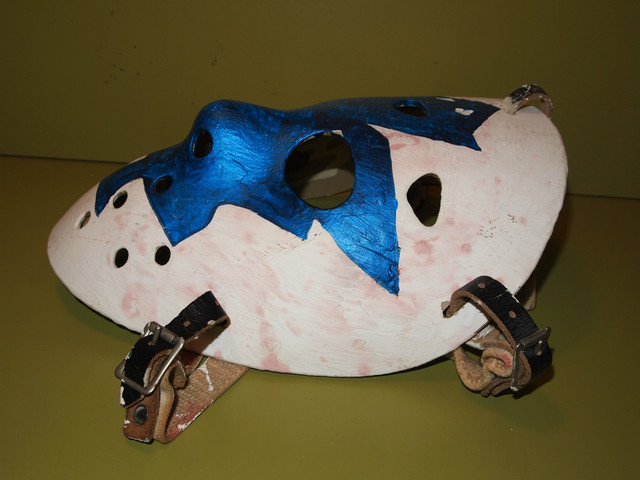 Vintage Goalie Mask - Cooper HM7 Jr - Maple Leafs Logo