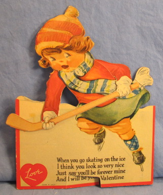 valentines card vintage ice hockey early 1950s