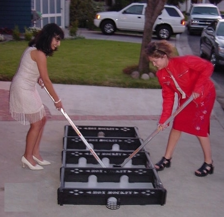 Hockey Goddesses Playing Box Hockey - In High Heels Too :-)