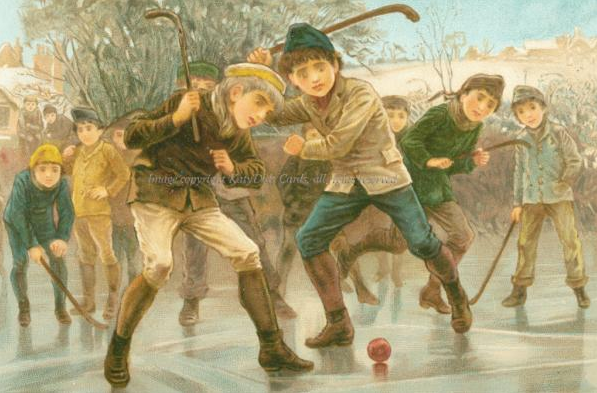 Antique Ice Hockey New Years Card - 1890s