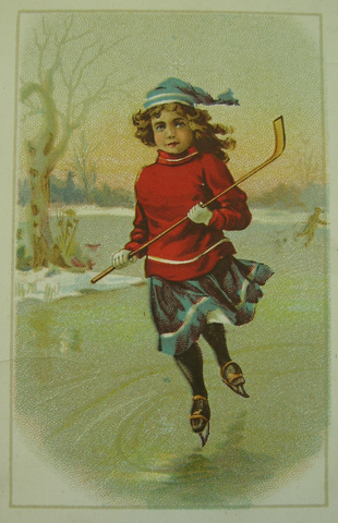 Antique Ice Hockey Lithograph - January Girl - 1900