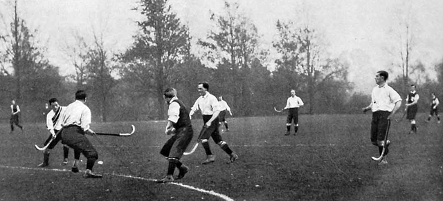 Antique Oxford University Field Hockey Game Action - 1900