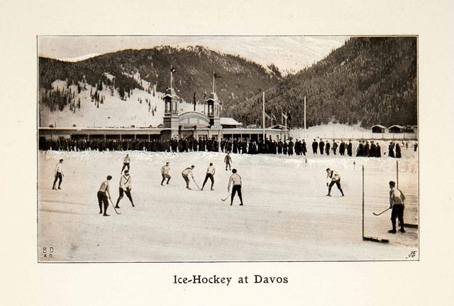 Antique Ice Hockey Print - Game Action on Lake Davos - 1907