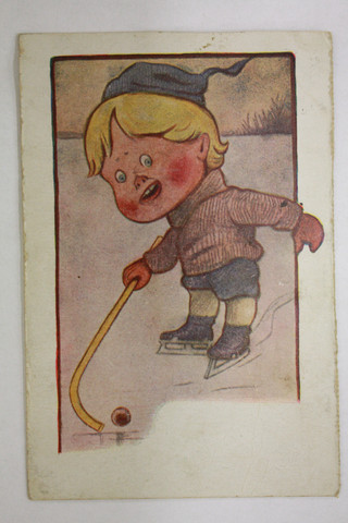Antique Shinty / Bandy Postcard - Little Boy Lithograph - 1909