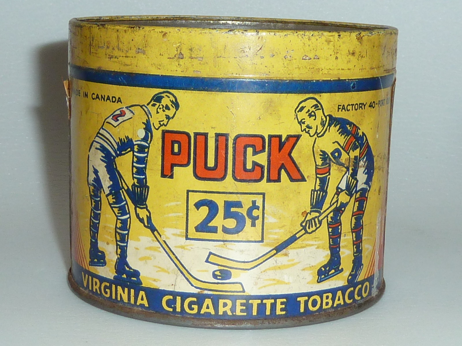 Puck Tobacco Tin Virginia Cigarette Tobacco 1915