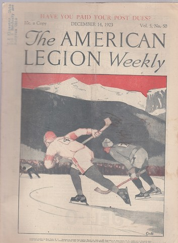 Antique Ice Hockey - American Legion Weekly - Front Cover - 1923