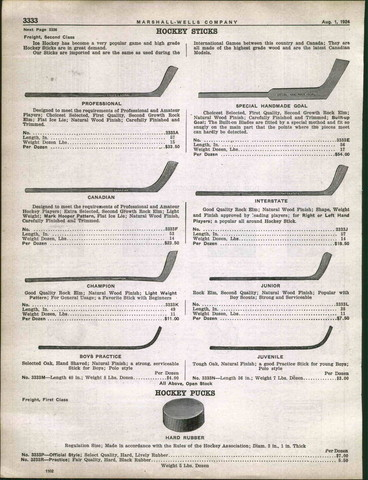Antique Ice Hockey Stick Catalog - Marshall Wells - 1924