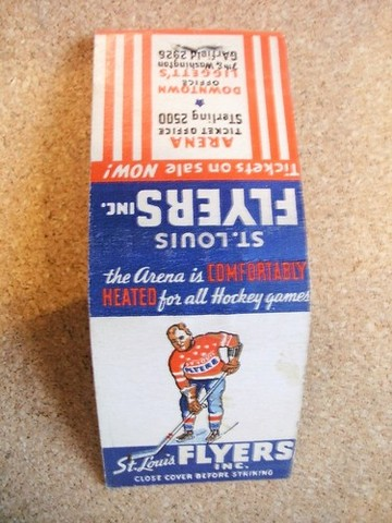 Antique Ice Hockey Matchbook - St Louis Flyers - 1930s