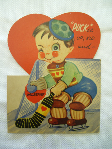 Antique Valentines Day Card - Ice Hockey Goalie With Love Jersey
