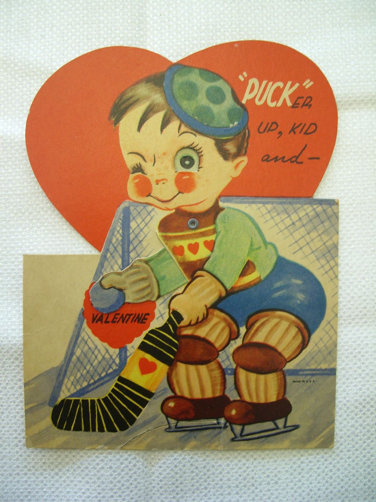 antique valentines day card ice hockey goalie with love jersey