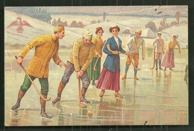 Antique Bandy Ball / Shinty Postcard - Austria - Early 1900s