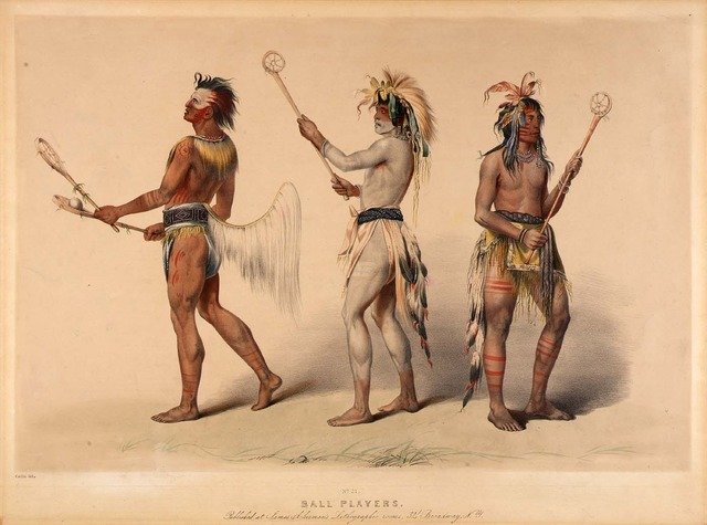 Ball Players - Stickball - Lacrosse - Native Americans - 1800s