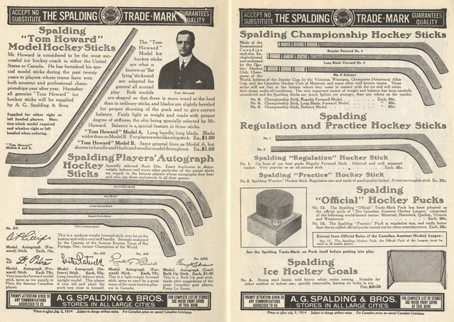 Spaldings Ice Hockey Stick Ad - 1915 - Spalding Athletic Library