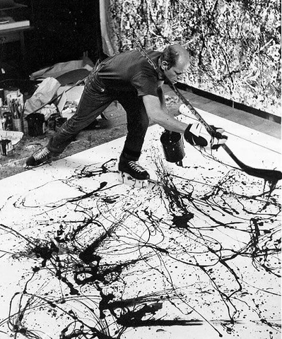 Jackson Pollock Drip Painting With A Ice Hockey Stick