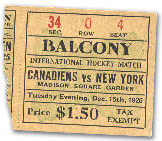 ice hockey game at madison square garden ticket stub hockeygods