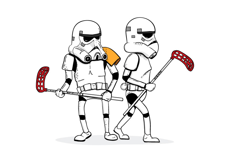 Star Wars Stormtroopers Playing Floorball Illustration