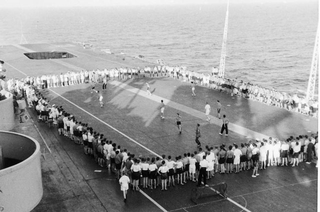 Deck Hockey on the HMS Ark Royal - Coast of Gibraltar - 1958