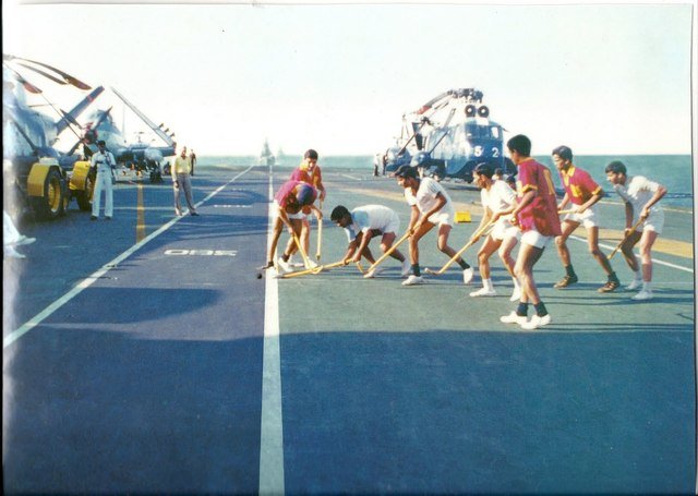 Deck Hockey on the HMS Vikrant - India Ocean