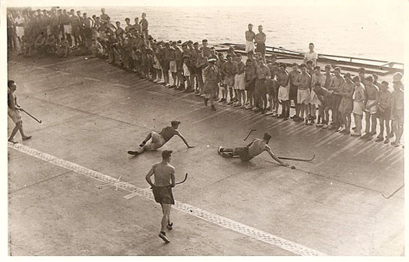 Deck Hockey on the H.M.S. Indomitable - British Royal Navy 1944